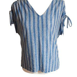 Lucky brand blue striped cold shoulder blouse smal